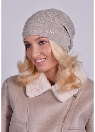 Стильная осенне-весенняя женская шапка двойная разные расцветки