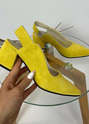 Босоножки сабо острый носок замш лимонный