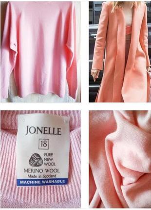 Нежный свитер зефирно розового цвета из 100% шерсти меринос !