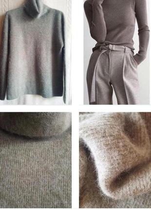 Шикарный базовый, теплый свитер серо-оливкового цвета из шерст...