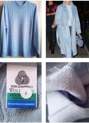Шикарный свитер небесно голубого цвета из 100% экстра шерсти м...