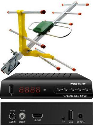 Комплект Т2/спутниковый тюнер Foros Combo + Т2 антенна ES-003