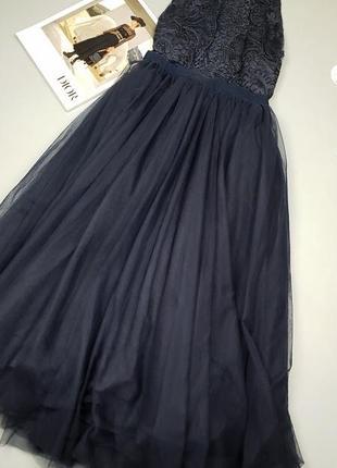 Вечернее платье миди с фатином и кружевом asos p.12