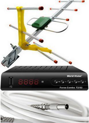 Комплект Т2/спутниковый тюнер Foros Combo + Т2 антенна ES-003 ...