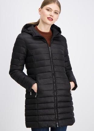 Новая женская демисезонная тёплая чёрная куртка пальто с капюш...