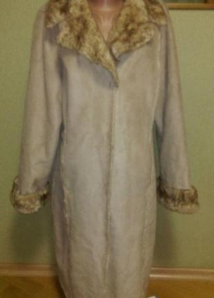 Красивое меховое пальто ,замшевая дубленка большого размера  bhs