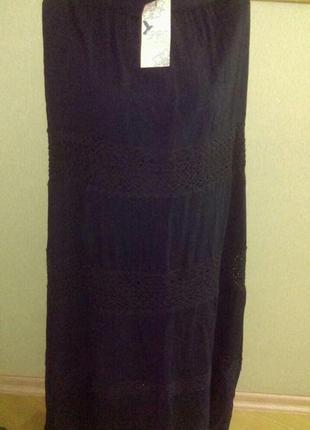 Красивая длинная юбка из жатой ткани с кружевом   из натуральн...