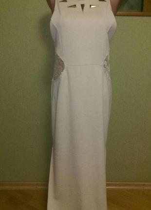Красивое платье с кружевными вставками цвета пудры,скидка