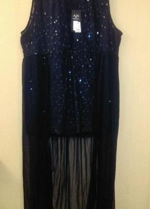 Красивое  вечернее платье со шлейфом из шифона и пайетками бол...