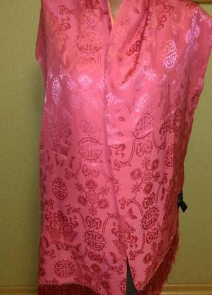 Красивый двухсторонний шелковый шарф накидка платок