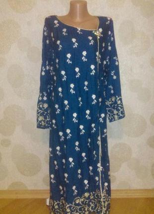 Вышитое расшитое платье с брошкой   туника в восточном стиле  ...