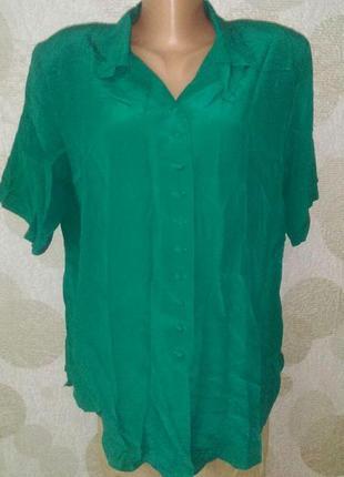 Винтажная шелковая блуза рубашка изумрудного цвета