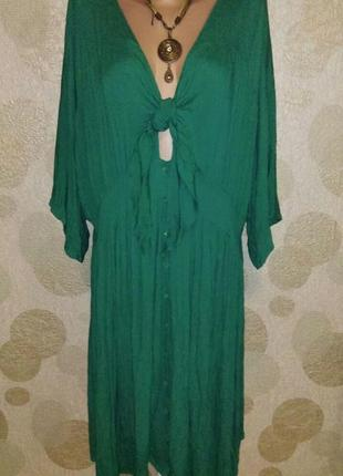 Красивое   платье туника балахон жатка изумрудного цвета