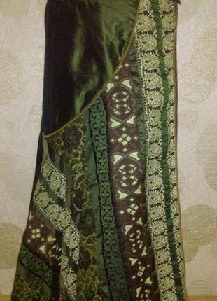 Винтажная  юбка в стиле бохо на запах изумрудного цвета   peruzzi