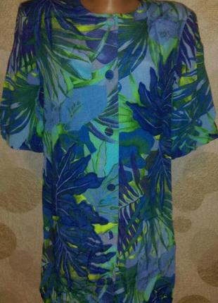 Красивая блуза рубашка туника кардиган жакет   в тропический п...