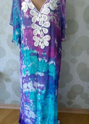 Винтажная  шелковая  туника платье   с эксклюзивной  вышивкой ...