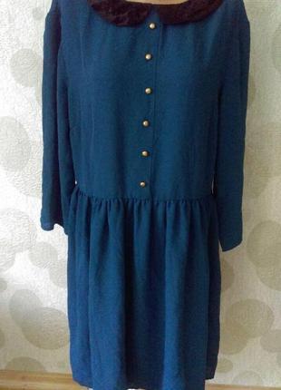 Красивое шифоновое платье бархатный воротник
