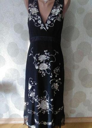 Шелковое  вечернее  платье с вышивкой и бахромой