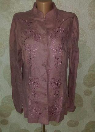 Льняная вышитая блуза  цвета пыльная сирень  любимого бренда  ...