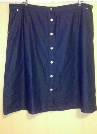 Джинсовая юбка на пуговицах большого размера  damart