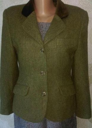 Шерстяной стильный жакет пиджак с бархатным воротником   винтаж