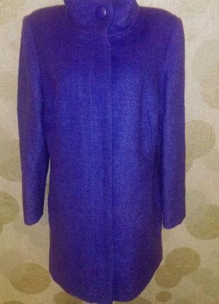 Шерстяное красивое пальто на молнии   большого размера