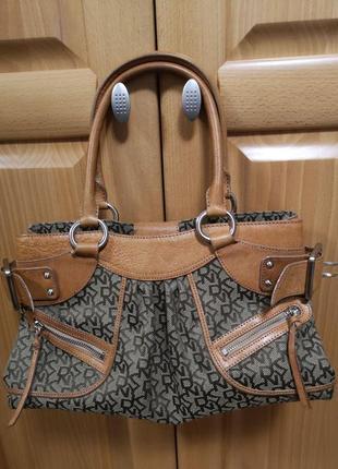 Стильная сумка саквояж ткань и кожа оригинал