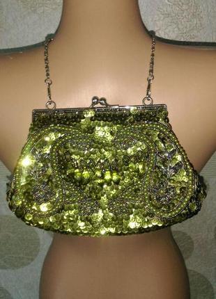 Брендовый клатч сумочка вышивка бисером