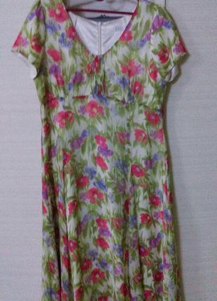 Винтажное шелковое цветочное платье миди с цветочным принтом  ...