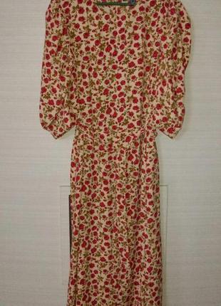 Красивое винтажное  длинное платье большого размера