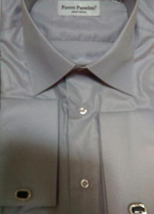 Стильная приталенная рубашка под запонку