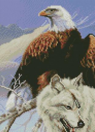 Алмазная мозаика Стратег Величественные орел и волк, 30х40 см,...