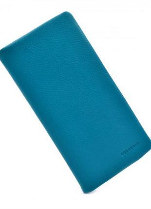 Кожаный кошелек - голубой