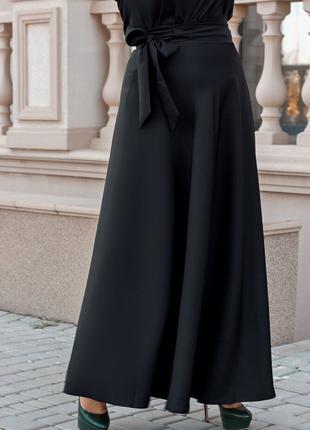 Стильная красивая длинная юбка в пол на запах с поясом больших...