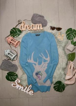 Новогодний рождественский свитер джемпер с оленем №19max