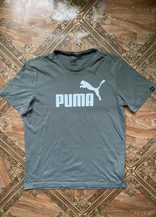 Спортивная футболка puma, оригинал, размер м, летняя, серая, м...