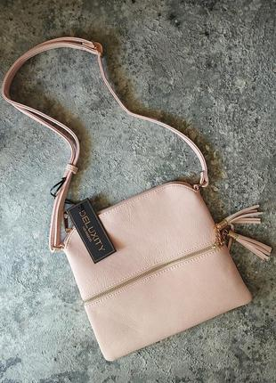 Женская сумка deluxity, розовая сумочка, сумка на длинном ремешке