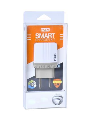 Набор 2 в 1 СЗУ With Iphone 7 Cable 110-240V PZX C855E, 2xUSB,...