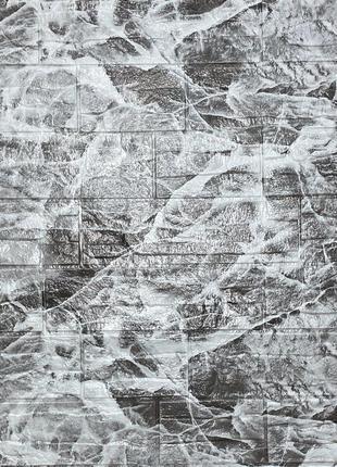 Самоклеящаяся декоративная 3D панель камень Серый рваный кирпи...