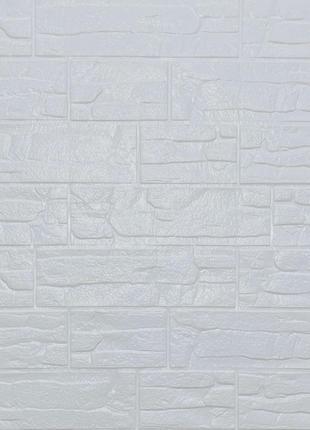 Самоклеящаяся декоративная 3D панель камень Белый рваный кирпи...