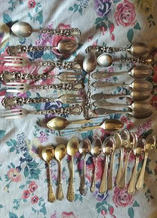 Столовое серебро, коллекция,чайные ложки и десертные вилки
