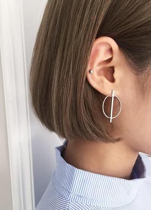 Серебряные серьги круги в стиле минимализм, посеребренные серьги