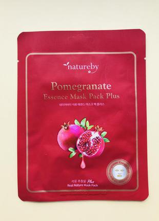 Тканевая премиум маска с гранатом natureby pomegranate essence...