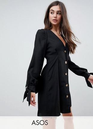 Платье на пуговицах с завязками на рукавах asos