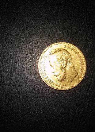 Монета 5 рублей золото 1898 год вес 4,3 грамма