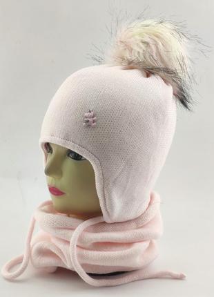 Шапка вязаная детская с помпоном теплая и хомутом