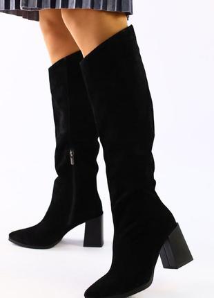 Lux обувь! качественные натуральные высокие сапоги на каблуке