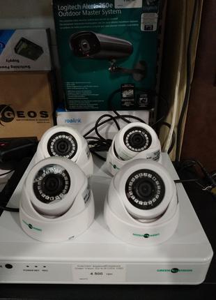 Комплект видеонаблюдения из 4-х камер и видеорегистратора Gree...