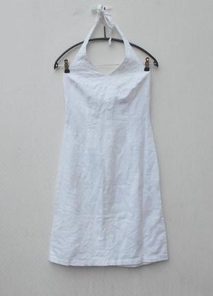 Белое летнее льняное хлопковое  платье сарафан с вышивкой 🌿