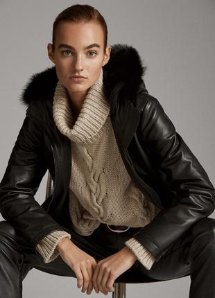 Massimo Dutti черное кожаное Стеганое черное пальто с капюшоном